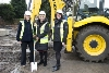 Helen Wright, Tenancy Support Manager at North Lincolnshire Homes with Cllr Liz Redfern, Leader of North Lincolnshire Council and Helen Fielding, Area Manager at the Homes and Communities Agency break the ground at Haig Avenue, Scunthorpe